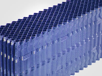 There is one pack of blue vertical fill for cooling tower, it has vertical flow channel.