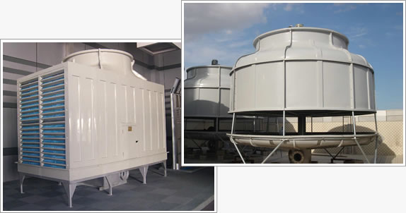 The picture shows two kinds of cooling towers, one is square cooling tower and the other is round cooling tower.