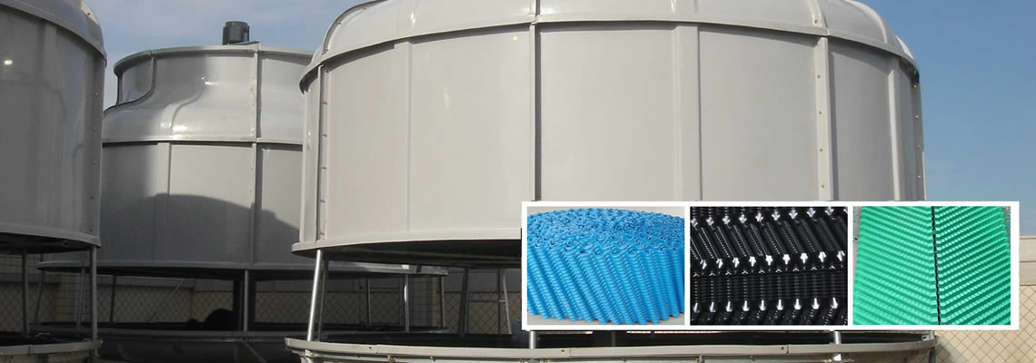 There is one piece and one mass of blue cooling tower fills, the piece of fill has s wave profile on the surface.